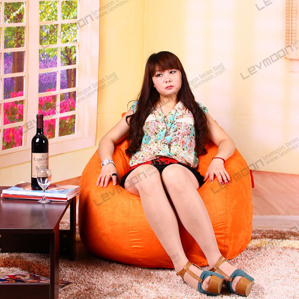 FREE SHIPPING cool bean bag chairs drop bean bags orange SUEDE INDOOR bean bag where to get bean bag(China (Mainland))
