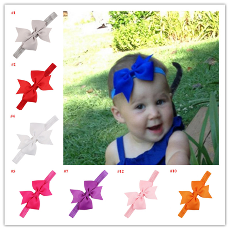2pc baby hair bands ribbon bows kids baby girl head wraps accessory hair bow headbands satin flower cheap hairband headwrap yiwu(China (Mainland))