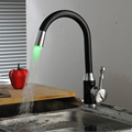 BECOLA Black kitchen faucet LED temperature control kitchen faucet Cold hot water kitchen faucet Free shipping