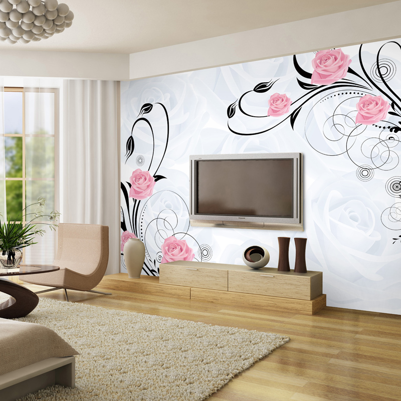 Mural De Fotos Para Sala De Estar ~ 3d mural wallpaper living room papel de parede rose flower murals