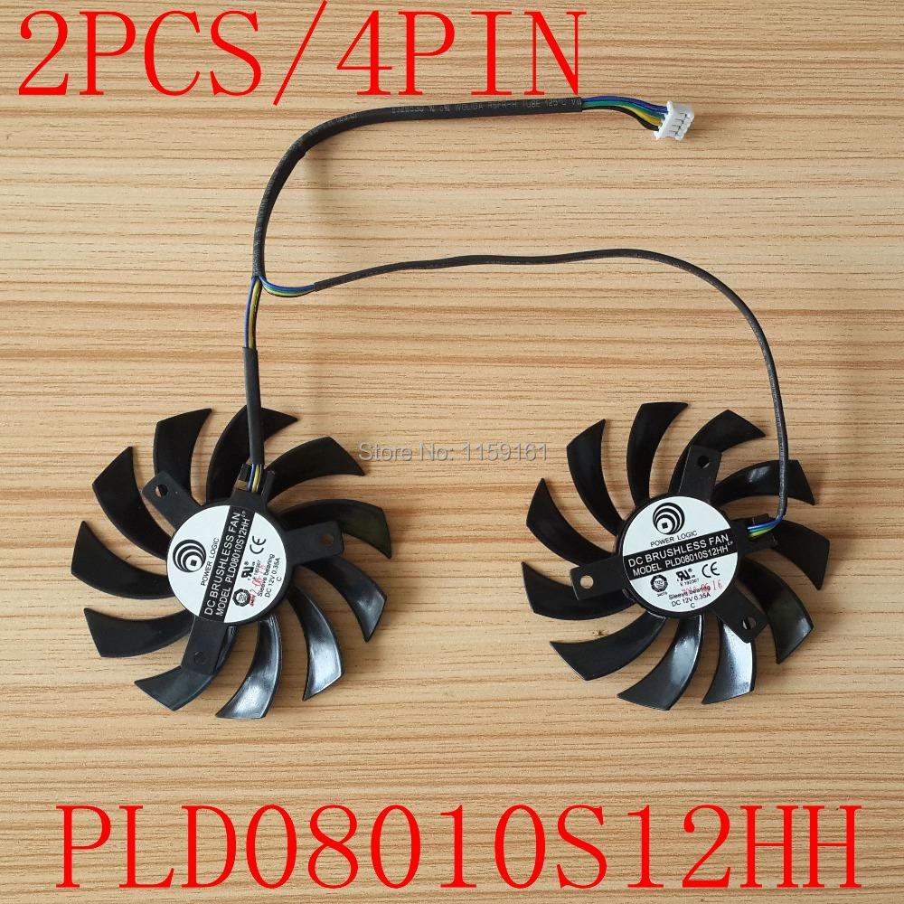 Free shipping POWER LOGIC PLD08010S12HH DC12V 0.35A 4pin Dual Fan MSI 460GTX 560GTX 570GTX 580GTX R6790 R6870 R6850HAWK fan(China (Mainland))