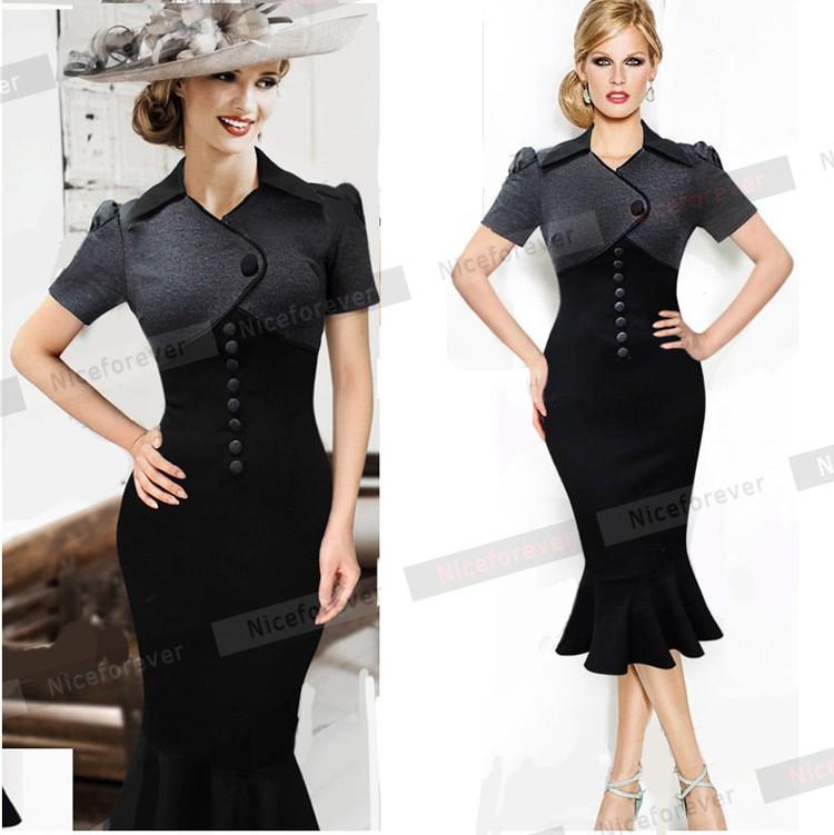 Женское платье Nice-forever Midi 50s B59 женское платье nice forever 2015 v b49