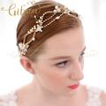 Wedding Rhinestone and Pearl Headband Bridal Halo Freshwater Pearl Headband Wedding Headpiece Wedding Hair Accessories