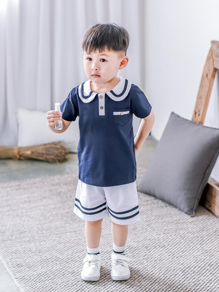2017 New Summer Kids Boys Clothing Set Striped Shirt + Short Pant Cotton Baby Girls Dresses Fashion Children Set Clothes(China (Mainland))
