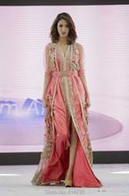 Top Quality Caftan Marocain Islamic Abaya in Dubai Evening Dress Pink Long Sleeve Evening Gowns Moroccan Kaftan(China (Mainland))