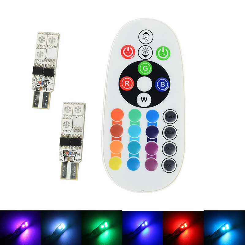 2x 5050 SMD RGB T10 194 168 W5W Car Reading Wedge Light Lamp 6 LED 16 Colors LED Bulb With Remote Controller Flash/Strobe(China (Mainland))