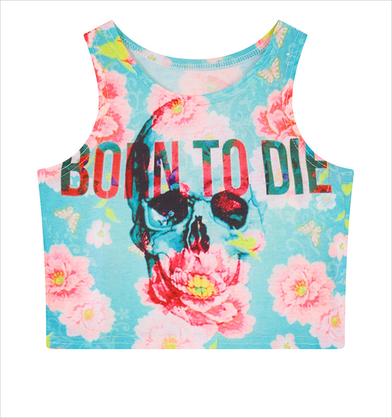 Fashion Flower Letters Skull print women short style t-shirt 2016 western design summer dress vogue girls cropped top tees(China (Mainland))