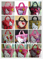 Hot Sale ! 15 Designs Can Choose, Retail 1 piece Black Design Hello Kitty Handbag/Kids Cartoon Handbag/Women's Comestic Bag