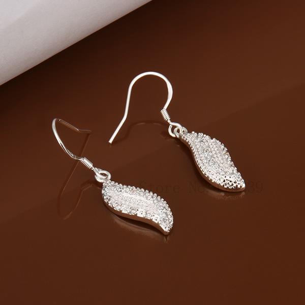 IE378 Wholesale 5-Pcs Lot Fashion Silver Crystal Lucky Leaf Drop Dangle Earrings Women Brand Jewellery Items Hot Earring Bijoux(China (Mainland))