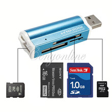 Blue All in 1 USB 2.0 Multi Memory Card Reader Connector For Micro S D MMC S D HC TF M2 Memory Stick MS Duo RS-MMC Retail Packag