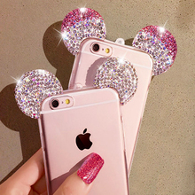 HIgh Quality 3D Mickey Mouse Ear Case For iPhone 6 6S 4.7 Inch Rhinestone Ears Soft Transparent TPU Protect Phone Covers(China (Mainland))