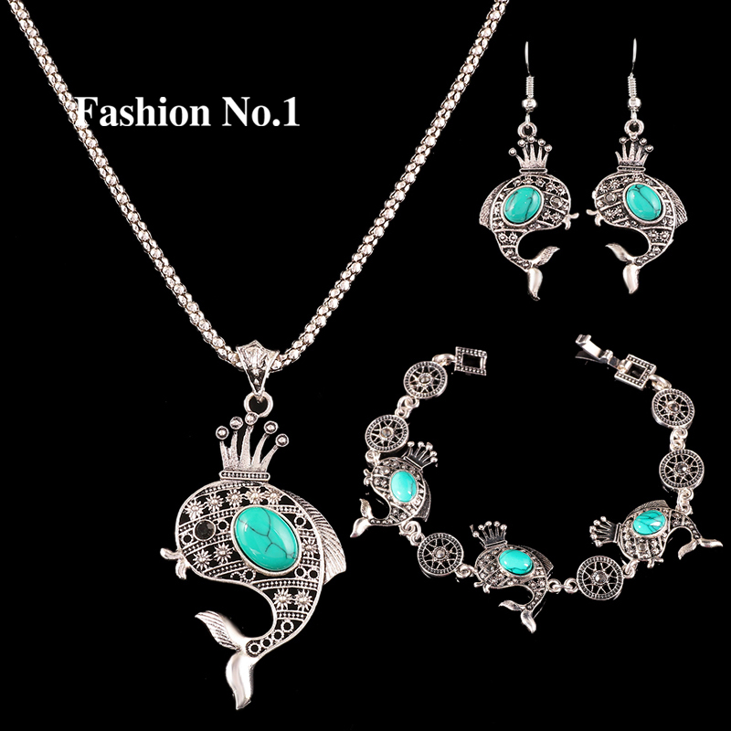 3pcs Retro Antique Fish Design Silver Plated Necklace Bracelet Earrings Turquoise Jewelry Sets Vintage Wedding Jewelry(China (Mainland))
