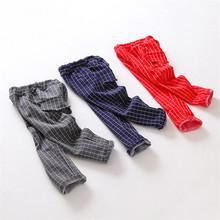 2016 Real Regular Pencil Pants Leggings Kikikids New Spring Children's Clothing And Children Pants Checkered Cotton Boy C-wzd54(China (Mainland))