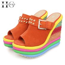 Sandalias Plataforma 2016 Summer Shoes Woman Bohemia Rainbow High Heel Slip On Peep Toe Platform Wedges Sandals Womens XWZ1070