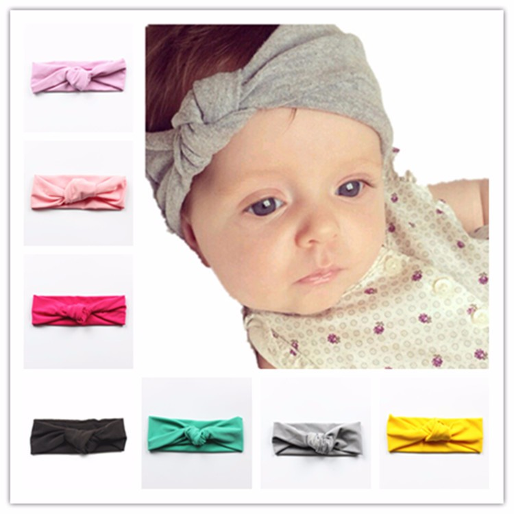 (Only solid color in stock)18cm*8cm High elastic 2016 bohemia baby hat cotton baby hats for girls cross headband baby hats&caps