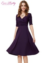 Cocktail Dresses Ever Pretty AS03632 Short Dresses Women 3/4 Sleeves Hot Sell V Neck High Stretch Plus Size Cocktail Dresses(China (Mainland))