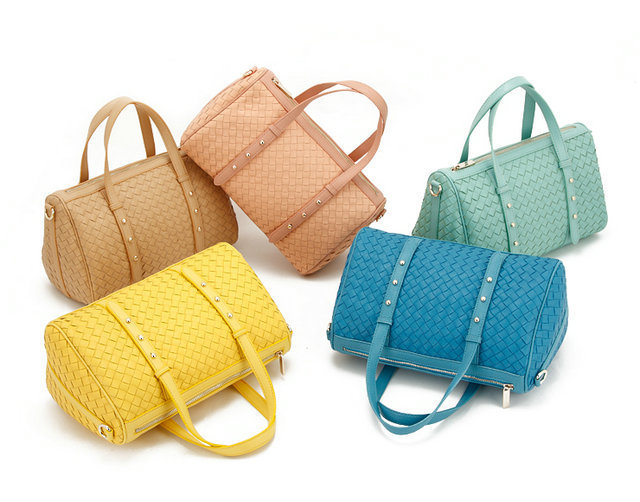 H1318 candy color Fashion Solid Plait PU Weave Zipper Bowling Boston bag women hand bag 5 Colors FREE SHIPPING(China (Mainland))