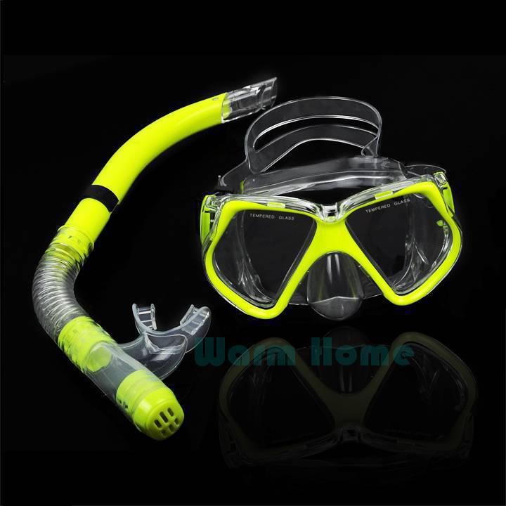 5pcs/lot Hot New Fluorescence Yellow Scuba Diving Equipment Dive Mask + Dry Snorkel Set Scuba Snorkeling Gear Kit TK0868 3F(China (Mainland))