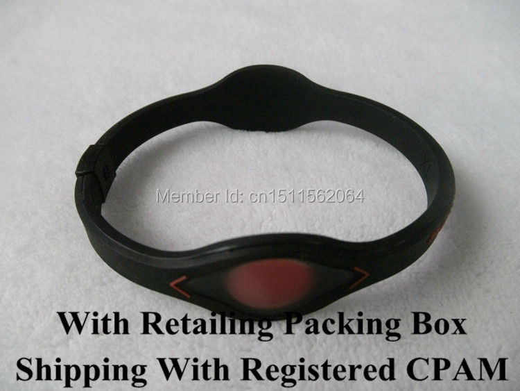 Retailing With Packing Box Black With Red Inscriptions And Logo Silicone Bracelet Power Bangle Balance Energy Wristband(China (Mainland))