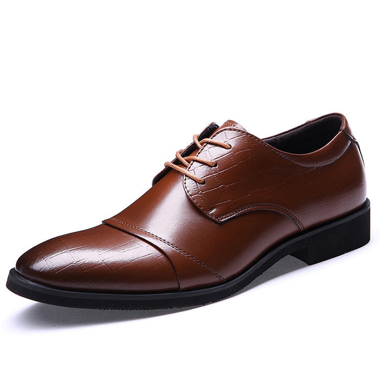 Men Oxford Shoes Mens Pointed Toe Dress Shoes Genuine Leather Heels Italian Stitch Brogues ...