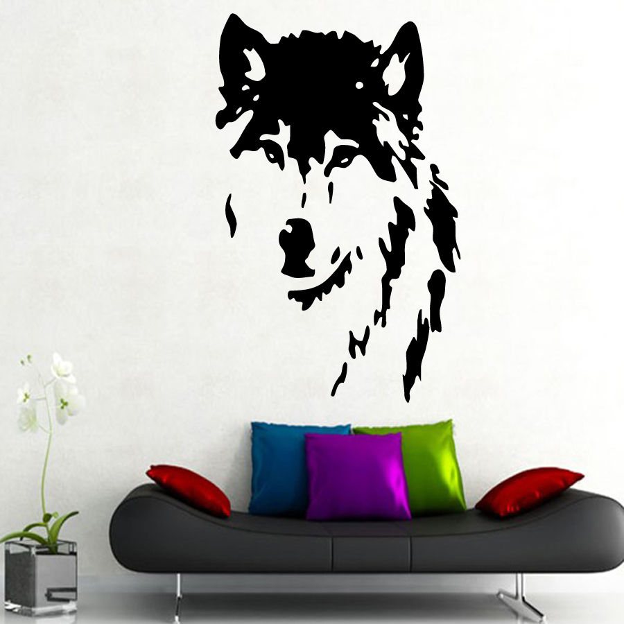 QT024 Wolf Wall Decals home decor Removable Vinyl wall art stickers pet shop decor(China