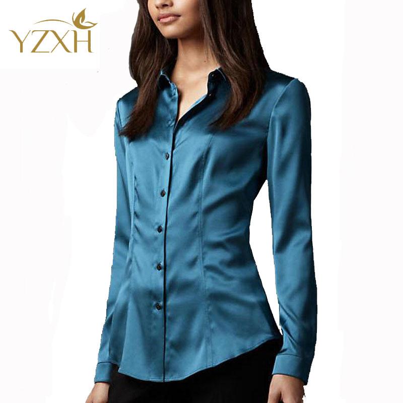 S-XXXL women Fashion silk satin blouse button ladies silk blouse shirt casual office White Black Blue long sleeve satin top 8014(China (Mainland))