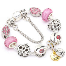 Authentic Silver Color Romantic Heart Beads Charm Bracelets & Bangles for Women Couple Fit Fine Bracelet Valentine's Day Gift(China)
