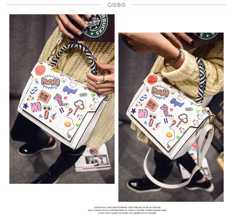 Cute Graffiti Ladies Hand Bag 2016 New Stylish Handbag Lovely Cartoon Designer Concise Shoulder Bag Fashion Flap Crossbody Bag