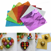 A96 Free Shipping Hot 100pcs Square Candy Paper Sweets Chocolate lolly Foil Wrappers Confectionary  (China (Mainland))