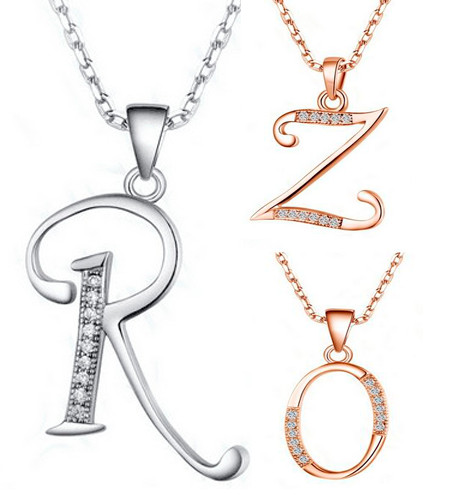 New Fashion Initial Letter O P Q R S T U V W X Y Z Necklace For Unisex Cubic Zirconia Name Pendants 925 Sterling Silver Jewelry(China (Mainland))