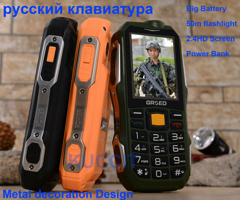 original Big Battery Rugged Power Bank phone flashlight Senior GSM old man mobile phone Russian Arabic keyboard BIG Soud camping(China (Mainland))