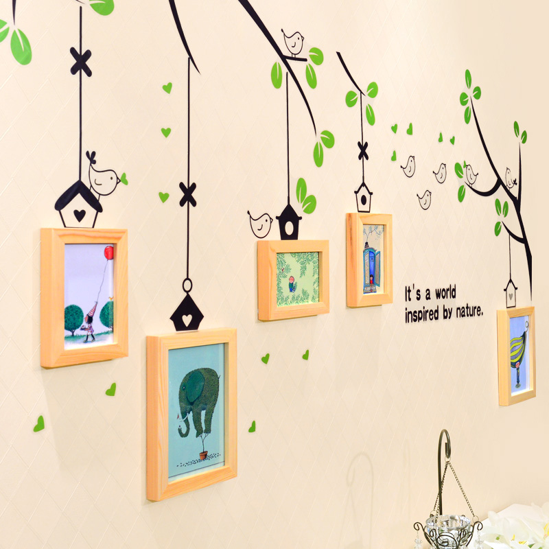 All wood stair baby pictures wall photo frame combination frame child wall photo frame(China (Mainland))
