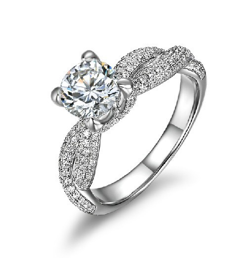 Elegant 1 Carat Love SONA Synthetic Diamond Ring Engagement Jewelry Sterling Silver 18K White Gold Plated Wedding Women Ring(China (Mainland))