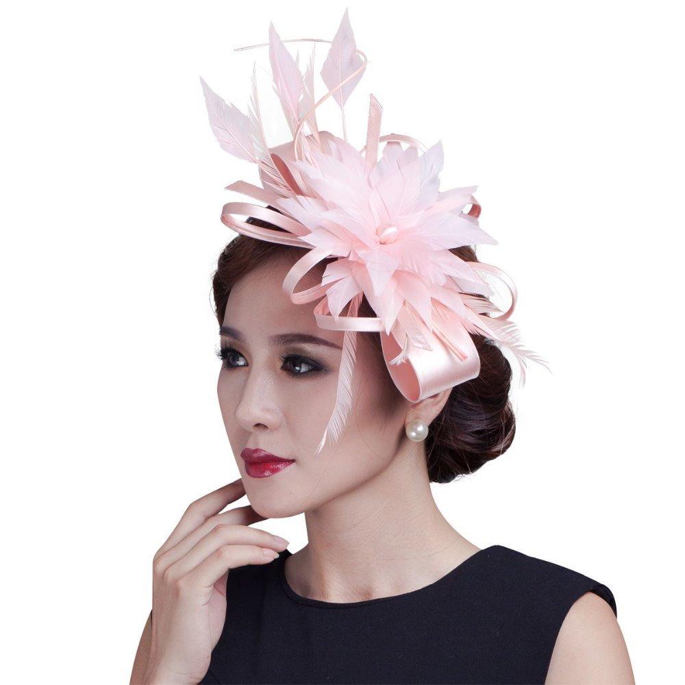 2015 women champagne ribbon Bow Fascinators sinamay and wedding feather fascinator hats 7colors(China (Mainland))
