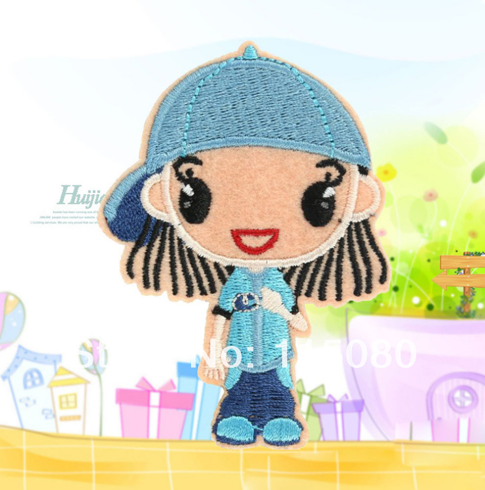 Wholesale lot 20pcs cartoon blue hat girl fabric Embroidered Motif patch garment badge embroidery sew-on or Iron-On Appliques(China (Mainland))
