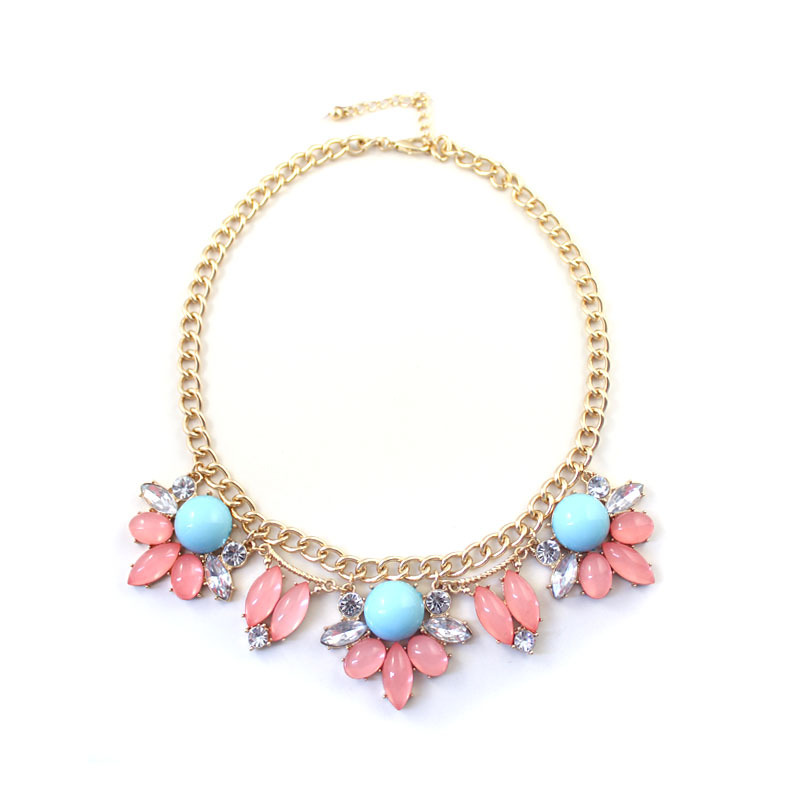 Fashion Style 18K Gold Plated Alloy Inlaid Artificial Gemstones Flower Pendant & Necklace Fashion Jewelry Free Shipping(China (Mainland))