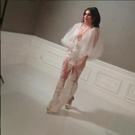 Special Occasion Dress Celebrity dress 2015 yousef Aljasmi Custom White V-Neck Long-Sleeve Sheath Lace Floor-Length - Modern-Zone1995 store