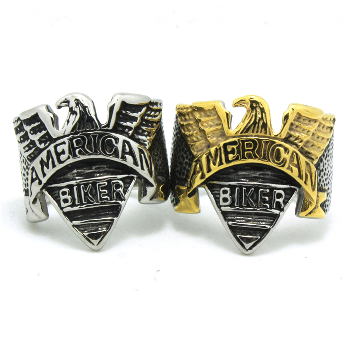 Factory Price Fast Shipping Silver&Golden Eagle Biker Ring Ride To Live New Style Ring 316L Stainless Steel(China (Mainland))