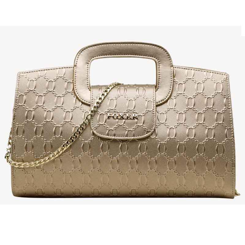 Фотография FOXER Famous Brand Women Bag Fashion Height Quality Genuine Leather Handbags Embossing Zipper Women Messenger bags