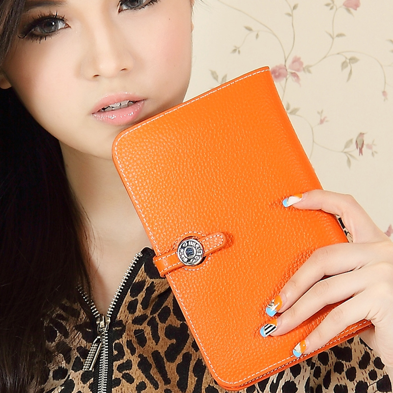 Luxury wallet women's handbag bag passport holder cowhide clutch women's genuine leather medium-long wallet(China (Mainland))