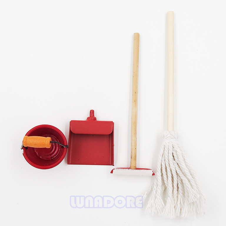1:12 Dollhouse Miniature Furniture 4PCS Sweeper Mop Pail Dustpan Wooden Red Clean Set(China (Mainland))