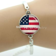 American flag Country logo Art picture USA flag bracelet men and women accessories vintage national symbolic bangle B 782(China (Mainland))