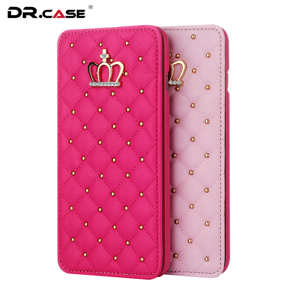 DR.CASE Luxury Gold Crown Bling Case For iPhone 6 6s 7 PU Leather Cover Girly Fashion Wallet Cover For iPhone 7 Plus 6 6s Plus(China (Mainland))