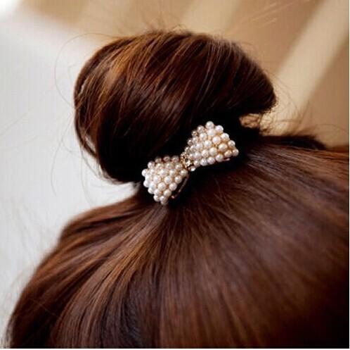 Women Crystal Rhinestone Pearl Hairband Rope Elastic Ponytail Holder Bowknot Hair Band Accessories  -  ^_^ Enjoy ^_^ store