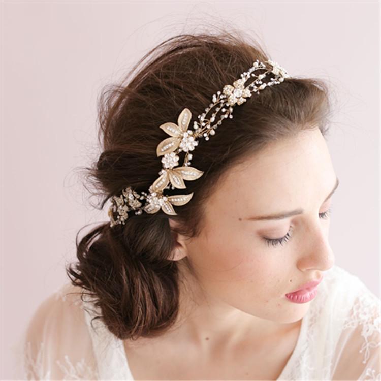 Wedding Hair With Rhinestone Headband : Aliexpress buy handmade gold crystal pearl bridal