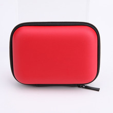 High Quality Red EVA Leather Earphone Cable Bag Mini Zipper Hard Headphone Case Protective Usb Cable Organizer Box 6 colors(China (Mainland))