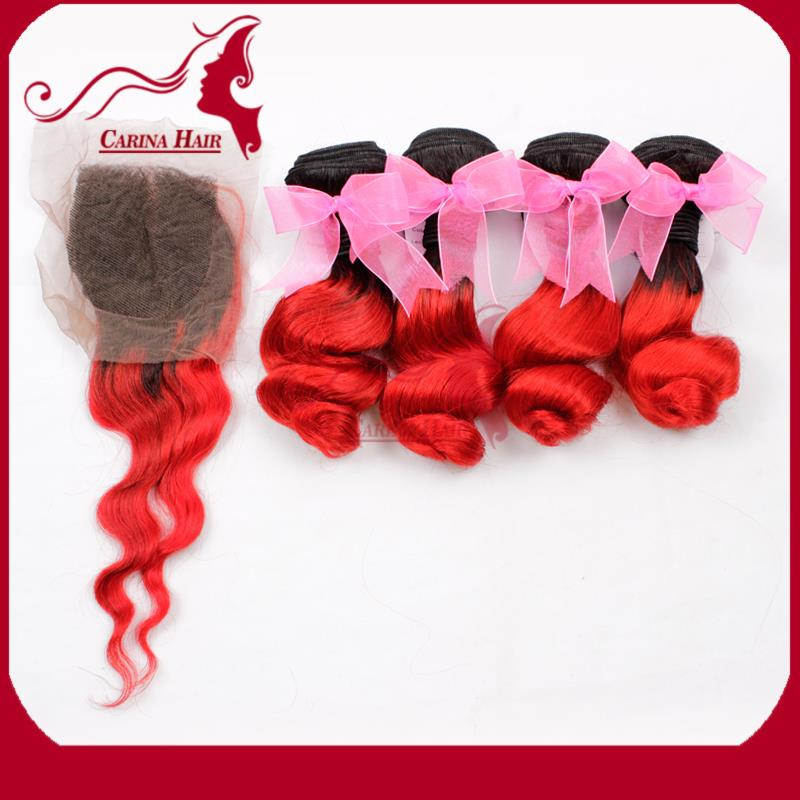 7A Peruvian Loose Wave Virgin Hair Bundle Ombre 1B Red Human Hair Weave 4Bundles with 1 Closure with Fedex Free Shipping<br><br>Aliexpress