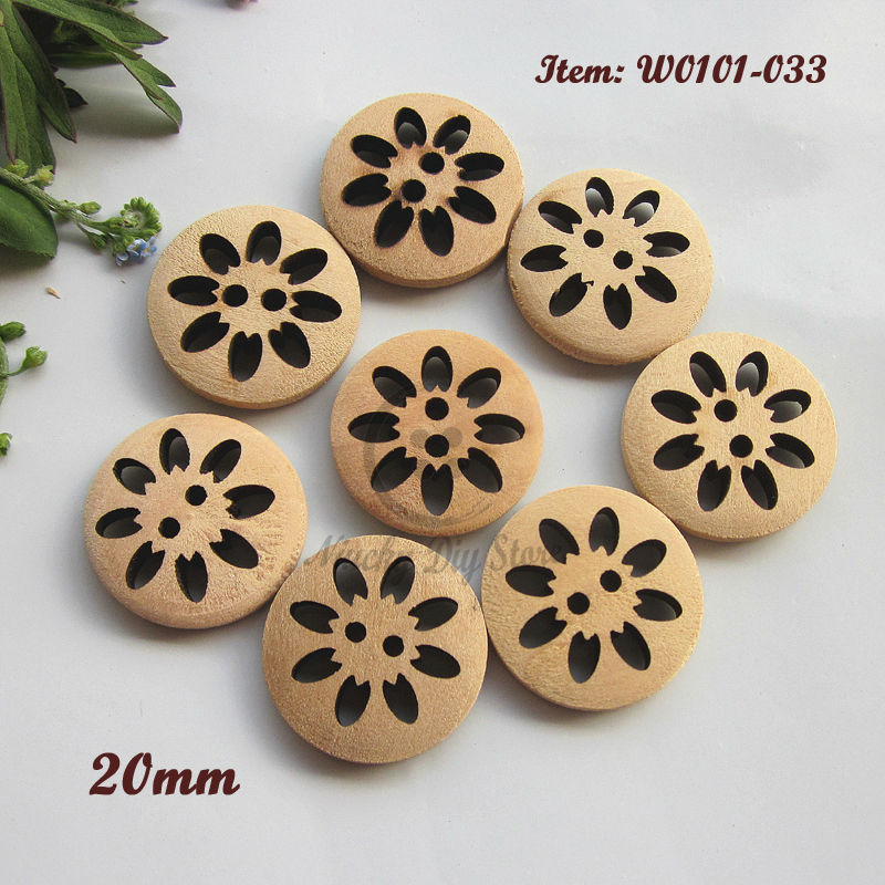 144pcs 20mm ( 32L ) 2 holes natural wood laser carving flower decorative buttons for sewing crafts accessories wholesale(China (Mainland))