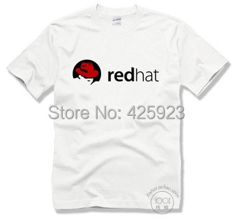 6 colours The red hat Linux redhat logo it fans necessary male cotton o-neck Customized short sleeve T-shirt(China (Mainland))