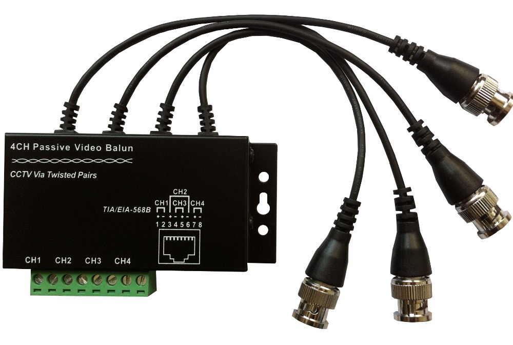 4CH Passive Video Balun for CCTV ,BNC to UTP Video Transceiver Transmitter RJ45 Balun with cables(China (Mainland))